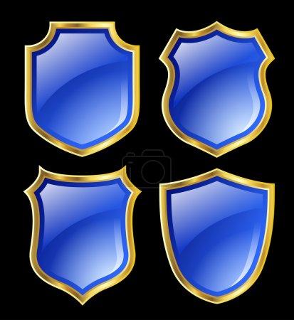 Photo pour Bouclier bleu avec bordure dorée ; Design sertie de différentes formes - image libre de droit
