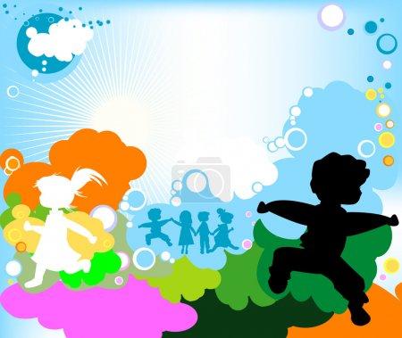 Foto de Siluetas de niños jugando, diseño abstracto - Imagen libre de derechos