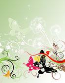 Summer floral design with butterflies