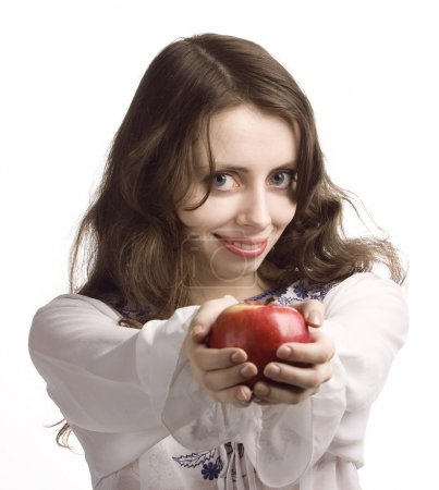Girl and red apple