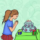 Holka vypadá na slavnostní dort