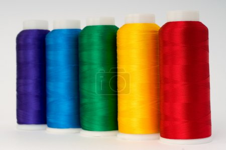 Photo for Hanks of multi-coloured threads for embroidery on a white background - Royalty Free Image