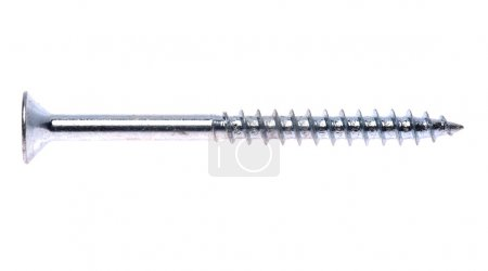 Photo for Close-up of silver screw isolated on a white background - Royalty Free Image