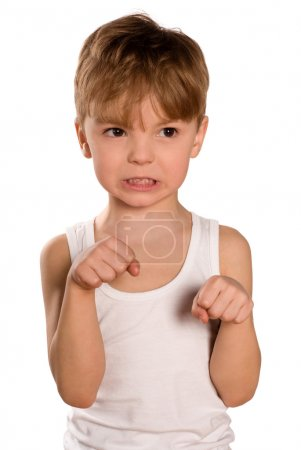 Photo for Funny little boxing boy isolated on white background. Beautiful caucasian model. - Royalty Free Image