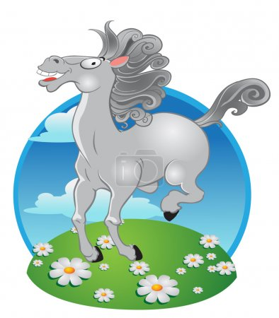 Illustration for Vector white horse on a color background - Royalty Free Image