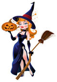 Vector beautiful witch and pumpkin