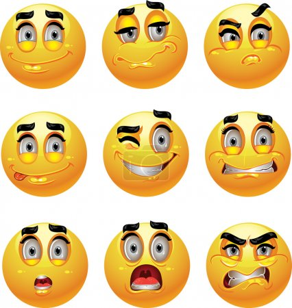 Illustration for Set of batch from 9 emotion smiles - Royalty Free Image