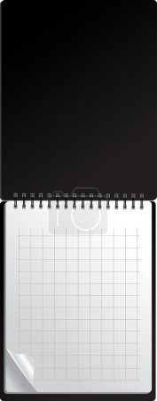 Open black notebook with page curl