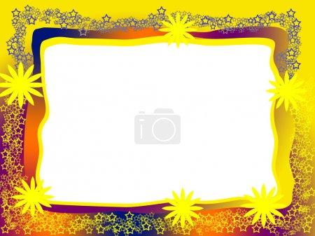 Photo pour Cadre lumineux décoratif ensoleillé avec des fleurs jaunes étoiles dentelle et fond blanc blanc blanc - image libre de droit