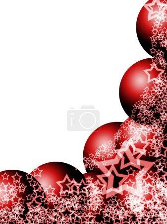 Foto de Marco de esquina brillante Navidad hermosa elegante con las bolas de adorno festivo y lacy estrellas blancas sobre fondo blanco en blanco - Imagen libre de derechos