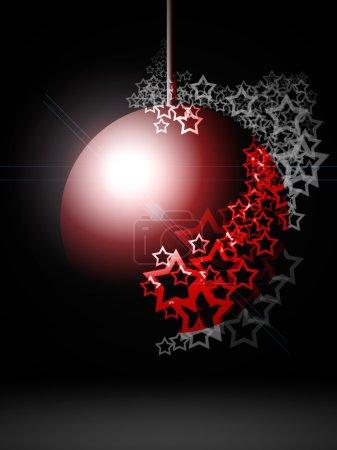 Photo pour Boule de Noël lumineuse festive rouge avec des étoiles en dentelle sur fond de nuit noire - image libre de droit