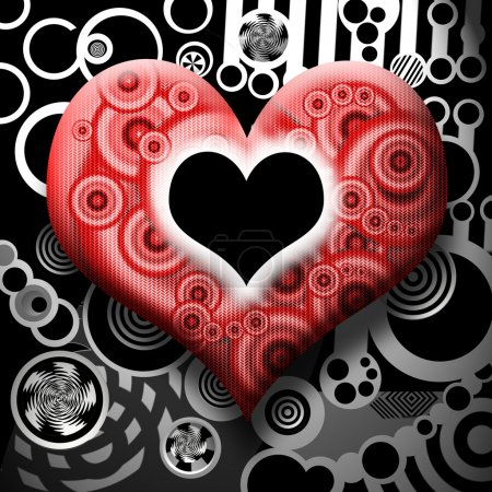 Foto de Símbolo del corazón elegante con agujero negro sobre fondo industrial surrealista abstracto - Imagen libre de derechos