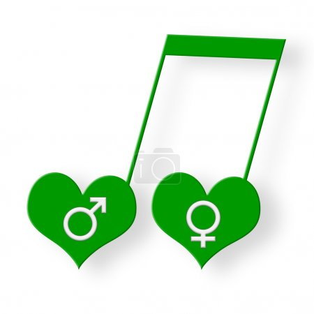 Photo for Two hearts with white venus and mars symbols in music harmony as green musical note over white background - Royalty Free Image
