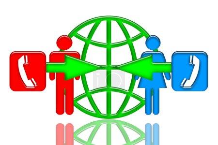 Foto de Hombre y mujer que hablar por teléfono, icono de comunicación con el símbolo del globo verde con reflejo aislado sobre fondo blanco, Ilustración colorida - Imagen libre de derechos