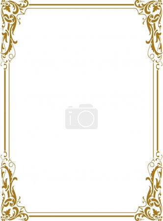 Illustration for Beautiful Golden Border - Royalty Free Image