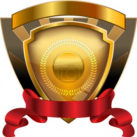 Illustration for A heraldic shield award template illustration with blank fields for entering custom text or graphics. - Royalty Free Image