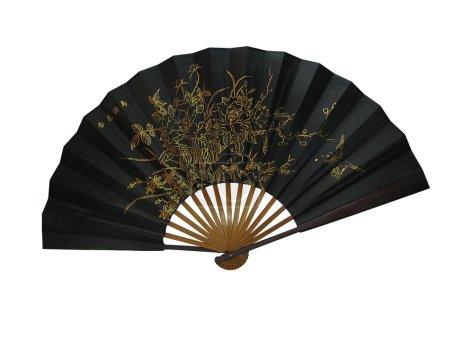 Foto de Bambú asiático un ventilador negro - Imagen libre de derechos
