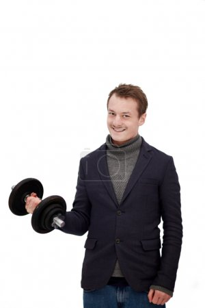 Stylish business man lifting weights