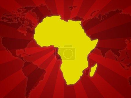 Photo pour Illustration de la carte d'Afrique avec fond de rayures - image libre de droit
