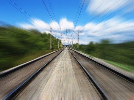 Photo pour Chemin de fer. Flou de mouvement . - image libre de droit