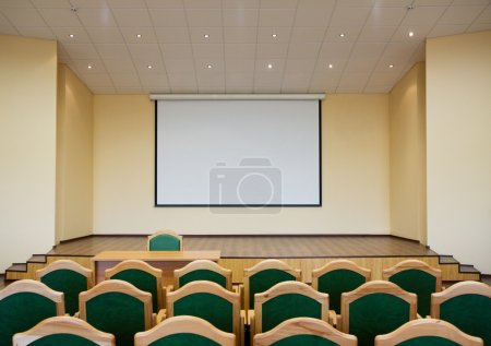 Auditorium hall with projection screen