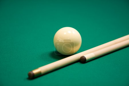 Photo for Billiard set on green table . Focus point on a ball - Royalty Free Image
