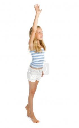Teenage girl say hello