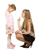 Adult girl swearing little girl