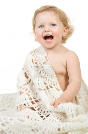 Photo for Happy pretty baby portrait with scarf. Isolate on white. - Royalty Free Image