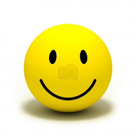 Photo for Smiley face on yellow ball over white - Royalty Free Image