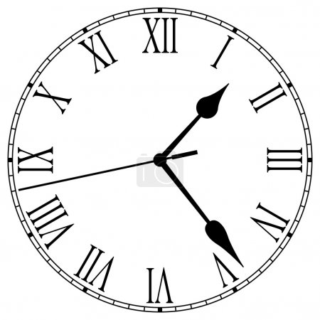Illustration for Clock-face with roman numerals and clock hands - Royalty Free Image