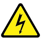 High voltage triangular sign over white background