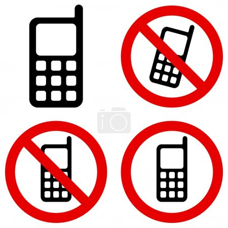 Illustration for Mobile phone prohibition sign over white background - Royalty Free Image