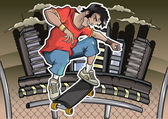 Skater on the background
