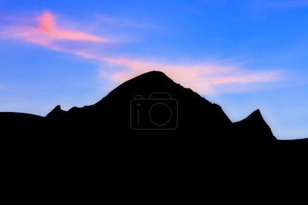 Silhouette of mountain peaks