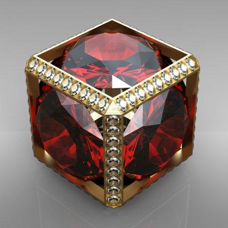 Jewel cube with gem