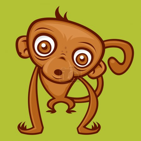Illustration for Vector cartoon monkey illustration. - Royalty Free Image