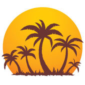 Vector illustration of a tropical sunset and palm trees on a small vacation island paradise