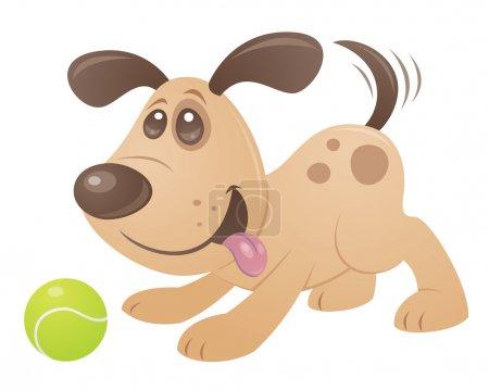 Illustration pour Dessin vectoriel de style dessin animé d'un chiot ludique jouant avec une balle de tennis. - image libre de droit