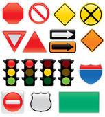 Vector traffic signs and map symbols Stop yield traffic lights interstate and highway signs one way detour construction sign railroad do not enter