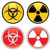 Shiny biohazard and radioactive warning signs and symbols