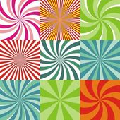 Set of nine radiant colored backgrounds