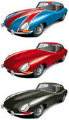 Vectorial icon set of retro English sport car (Jaguer E-type 1965 year) isolated on white backgrounds Every car is in separate layers File contains gradients