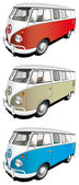 Vectorial icon set of minibus isolated on white backgrounds Every minibus is in separate layers File contains gradients and blends