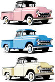 Vectorial icon set of American retro pickups isolated on white backgrounds Every pickup is in separate layers File contains gradients and blends