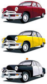 Vectorial icon set of old-fashioned American cars isolated on white backgrounds Every car is in separate layers No gradients and blends