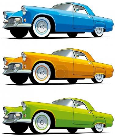Illustration pour Ensemble d'icônes vectorielles de voitures américaines à l'ancienne isolées sur fond blanc. Chaque voiture est dans des couches séparées. Fichier contient des dégradés et des mélanges . - image libre de droit