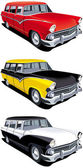 Vectorial icon set of American old-fashioned station wagons isolated on white backgrounds Every cars is in separate layers File contains gradients and blends