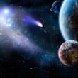 The group of comets of space attacks peace planets...