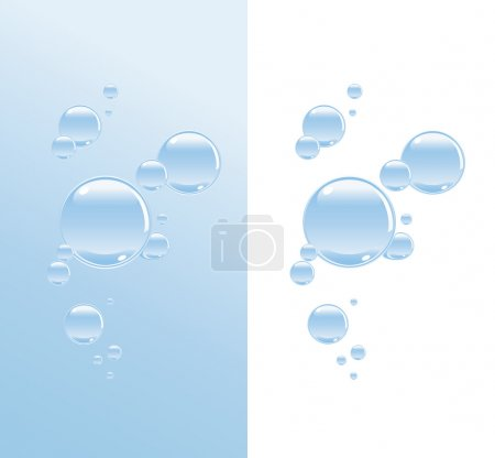Illustration pour Bulles d'eau transparentes sur deux variations de fond - image libre de droit